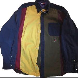 Vintage color block Tommy Hilfiger button up